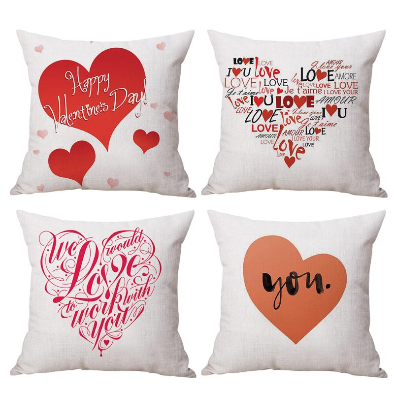 Happy Valentines Day Linen Cushion Cover Throw Waist Pillow Case Sofa Car Seat Decorative Pillowcase Home Decoration