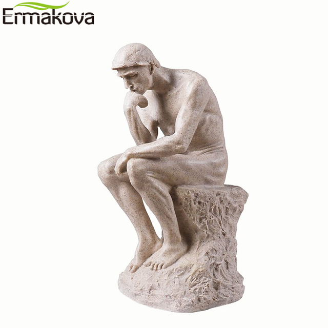 ERMAKOVA Abstract Art Thinker Statue Thinking of You Figurine Natural Sandstone Craft Sculpture Modern Home Office Decoration 6