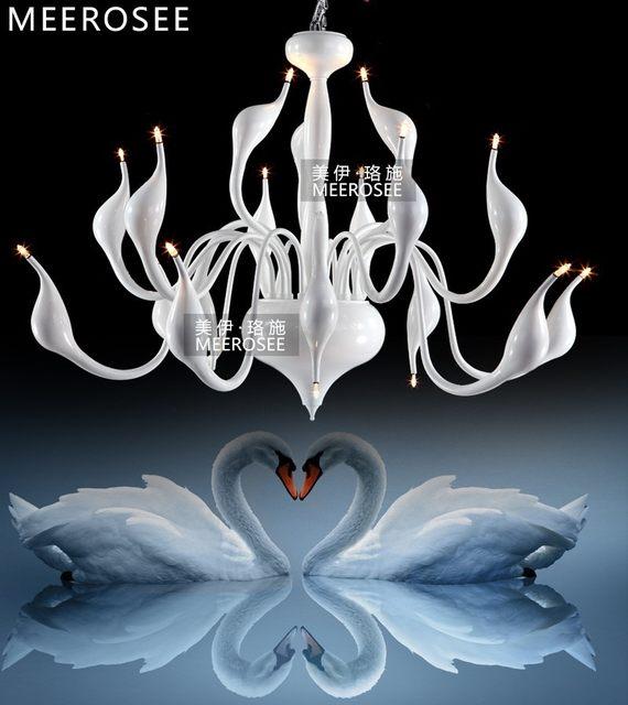 Modern White Swan Chandelier Light Fixture Lighting Fitting Black Romantic Hanging Suspension Drop Lamparas Lamp