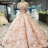 LS17330 luxury dubai curve shape evening dress special o neck beaded cap sleeve floor length ball gown pink evening party dress