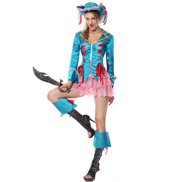 blue pink halloween costumes for women pirate costume adult fancy dress costume plus size cosplay