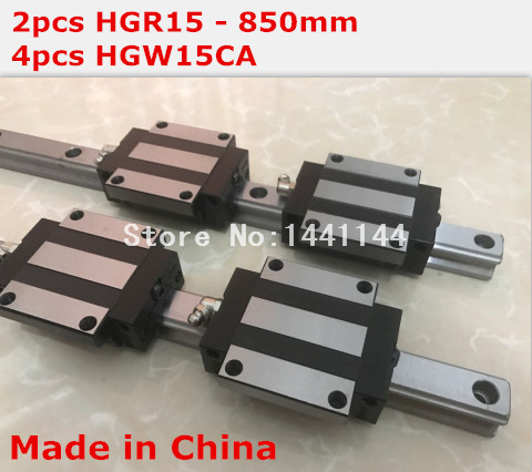 HGR15 linear guide rail: 2pcs HGR15 - 850mm + 4pcs HGW15CA linear block carriage CNC parts hg linear guide 2pcs hgr15 600mm 4pcs hgw15ca linear block carriage cnc parts