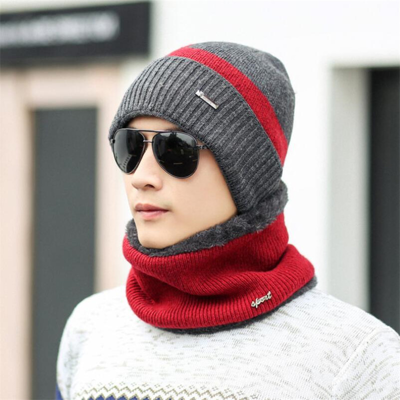 Knitting Hat 2017 New Winter Hat Coat Set With Cashmere Woolen Hat Men's Winter Fashion Hooded Cotton Cap the new children s cubs hat qiu dong with cartoon animals knitting wool cap and pile
