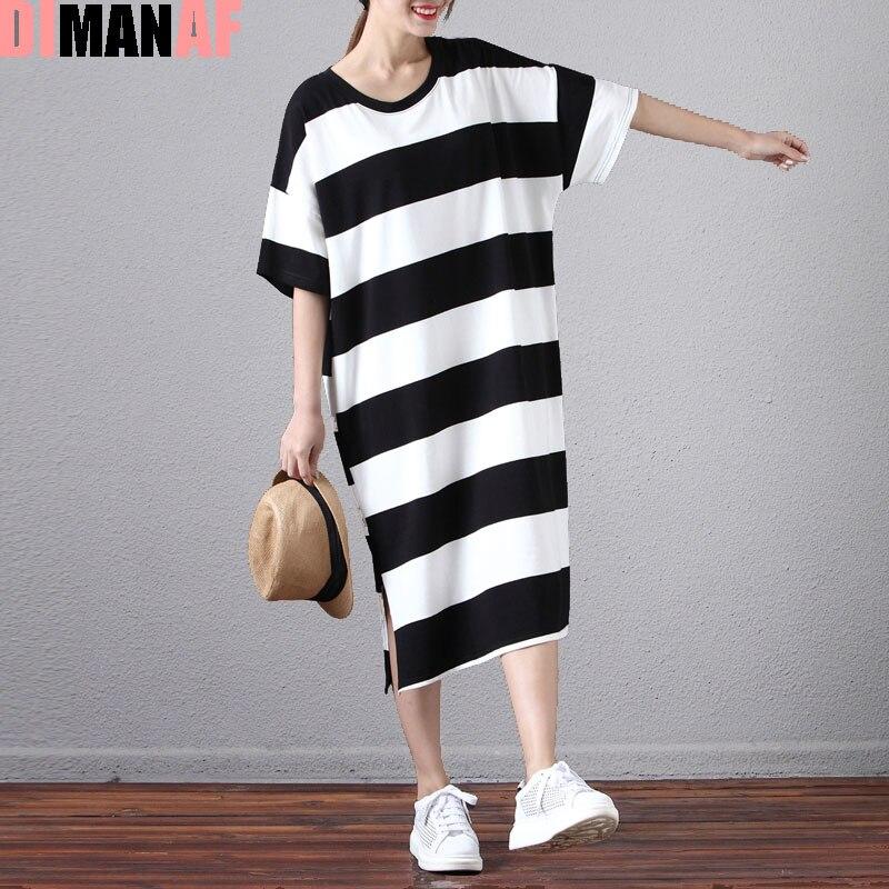Plus size women cotton dress striped soft summer dress for Soft cotton dress shirts
