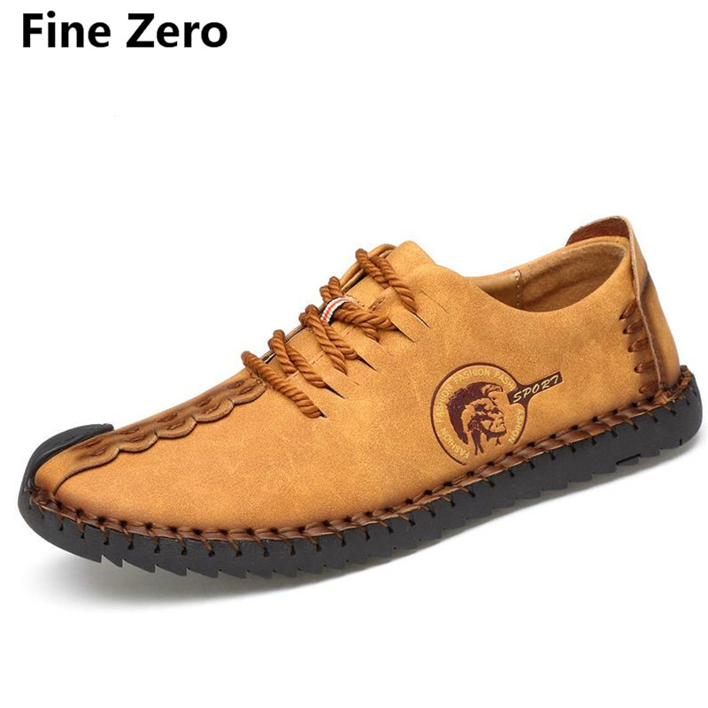 Fine Zero male spring autumn oxfords Men Flat Shoes Superstar Lace-up Soft Leather Slip On Shoes Men Causal Breathable Loafers