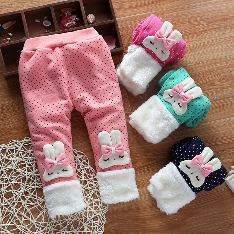 BibiCola 2017 Autumn and Winter Baby Girls Warm Leggings Pants,Baby Rabbit ear hair ball add Thick velvet Cute Leggings Trousers