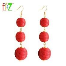 F.J4Z Hot Pom Pom Ball Drop Earrings Jewelry Fashion Stunning Women Crispin Beads Hanging Drop Earrings