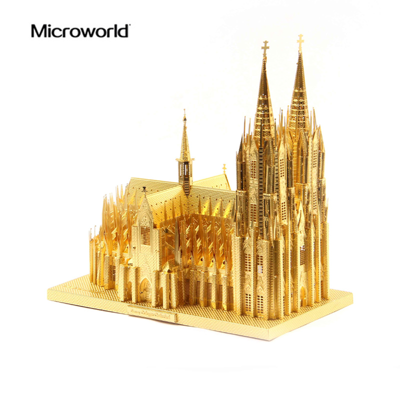 2017 Microworld 3D Metal Nano Puzzle The Cologne Cathedral Building Model Kits J030 DIY 3D Laser Cut Jigsaw Toys For Audit