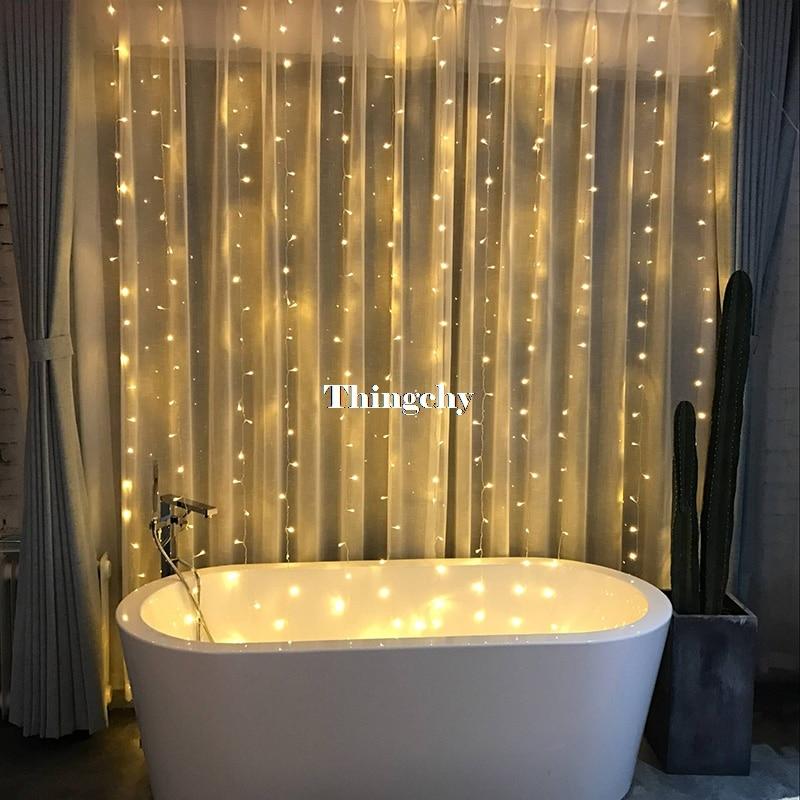 AC220V 1x2M/2x2M/6X3M LED Icicle Curtain String Fairy Light Xmas Christmas Wedding Decoration Home Garden Party Garland Decor