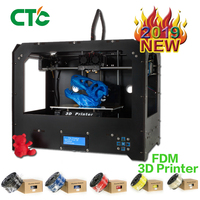 CTC 3D Printer Dual Extruder + Dual nozzle Two Color Printing 3d Printer / send 0.3KG Abs or Pla Spools for free US Stock