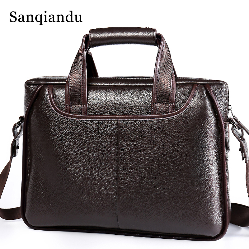 купить 100%Genuine Leather Men Laptop Bag Briefcase Fashion Men's Business Bags Casual Leather Messenger Bag for Men Bag Male Briefcase по цене 3671.19 рублей
