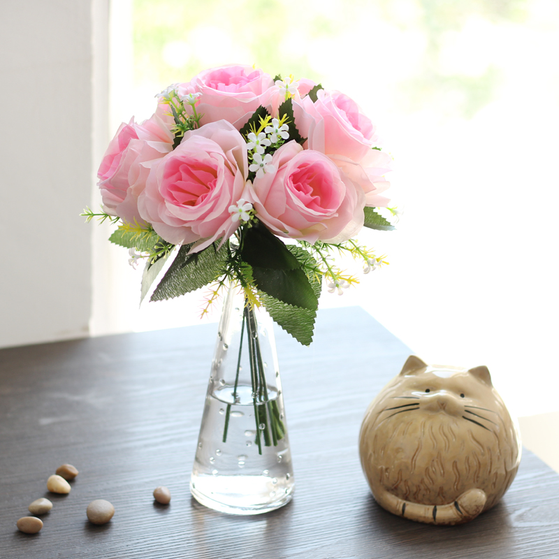 Wedding Gifts Modern Creative Glass Vase+Artificial Rose Flower Set Ornament Livingroom Desktop Accessories Fake Flower Figurine fake rose flowers