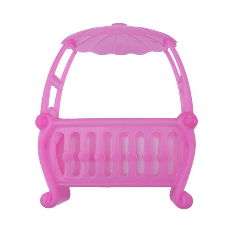 Pink Baby Bed Doll Toy Fittings Cradle Bed for Barbie Girls Doll Furniture Plastic Doll Accessories for Baby Girls Doll Bed
