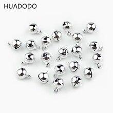 HUADODO 8 мм 50 шт. Серебряные Колокольчики медные бусины Подвески Подвесные рождественские украшения вечерние DIY аксессуары для рукоделия