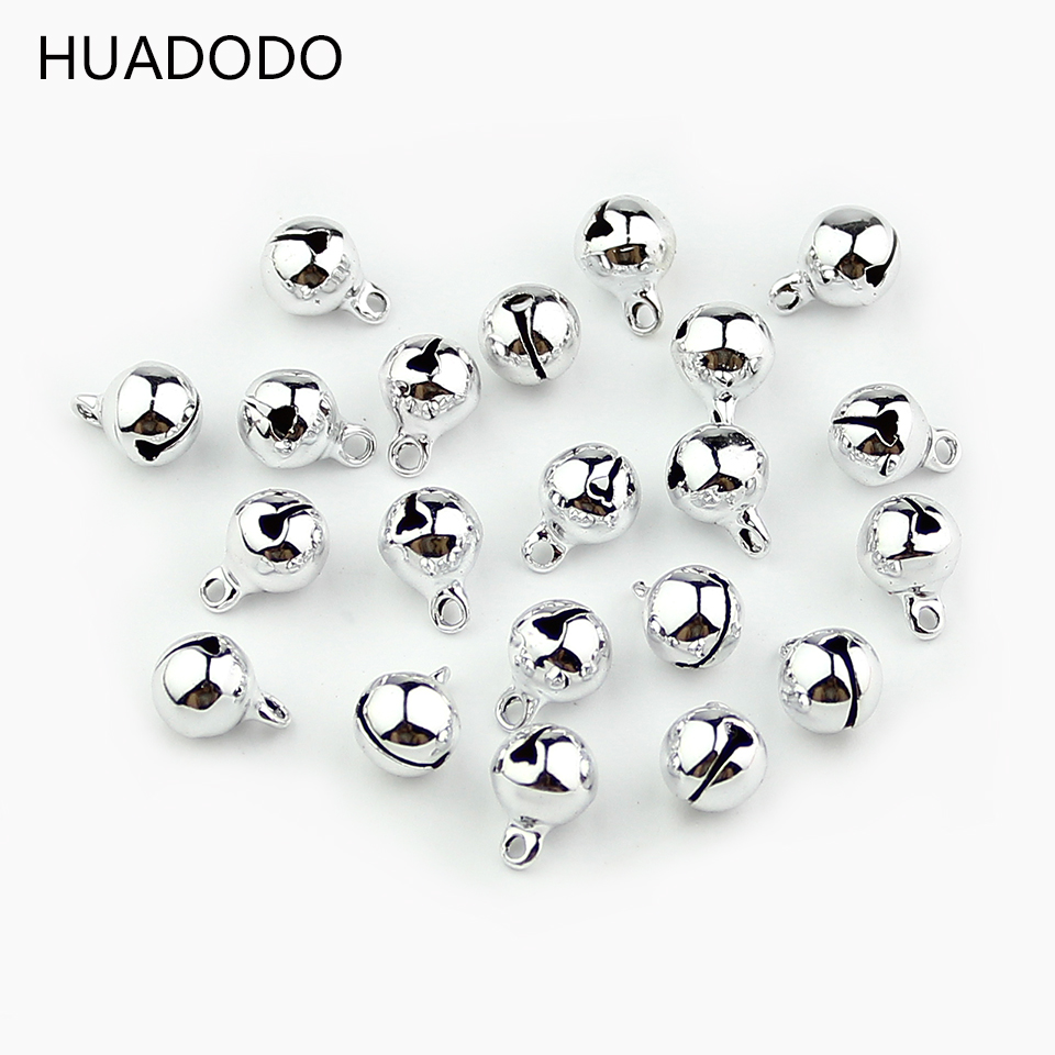 HUADODO 8mm 50Pcs Sliver Jingle Bells Copper Loose Beads Pendants Hanging Christmas Decorations Party DIY Crafts Accessories