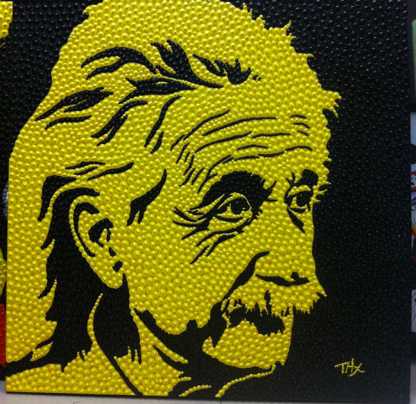100 Hand Painted Original Texture Pushpin Shape Einstein Pop Art Wall Art Oil Painting On Canvas Modern Picture For Living Room In Painting