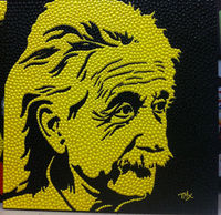 100% Hand Painted Original Texture Pushpin shape Einstein Pop Art Wall Art Oil Painting on Canvas Modern Picture for Living Room
