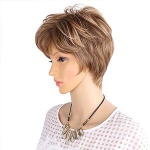 Image 2 - אמיר פלאפי פאות קצרות לבן נשים בלונד פאה סינטטי קצר מתולתל שיער פאת Ombre חום צבעים לשימוש יומיומי
