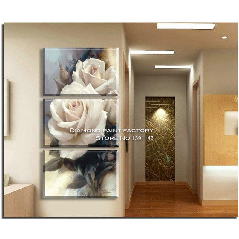 DPF ремесел 3D DIY алмаз Вышивка белая роза Вышивка с кристаллами ремесла цветочные Стразы комплекты домашнего декора живопись