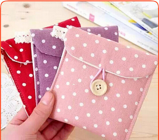 Free Shipping Korean Fresh Wave Cotton Tampon Pads Sanitary Pad Napkin Bag Dots Towel Change