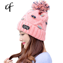 illfly Glasses Letter Patch Women's Thicken Warm Pompom Beanie Winter Autumn Spring Caps Knitted Hat Female For Women Girls Hat