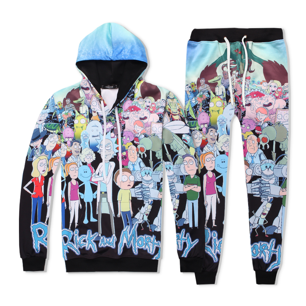 Rick and Morty with people PLstar Cosmos tracksuit men women winter casual clother 3d hoody&pants 2 pieces size S-XXL