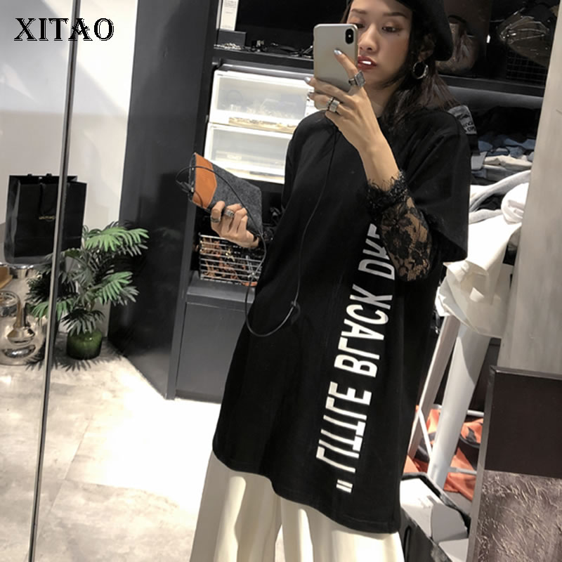 [XITAO] Korea Fashion Female Spring Summer 2019 New Casual Tee Loose Short Sleeve O-Neck Letter Pattern Long T-shirt DLL2854