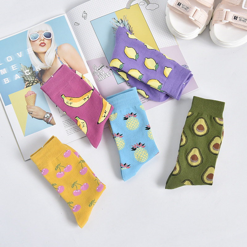 Women   Socks   Funny Cute Cartoon Fruits Banana lemon pineapple avocado Food Happy Japanese Harajuku skateboard   Socks
