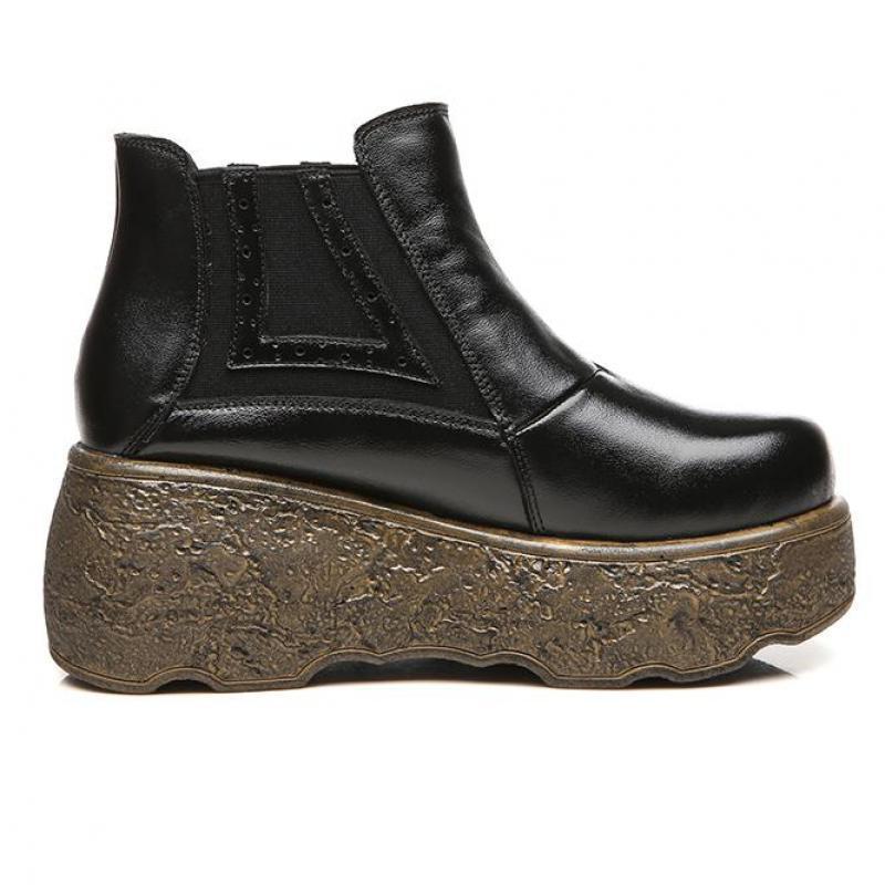Ocasionales Zapatos Hovinge Retro rojo Cuña Negro Botas Mujer Mujeres amarillo Mano Hechos Tacones A De Cuero Altos Botines Negro Chelsea rwBxr4qz