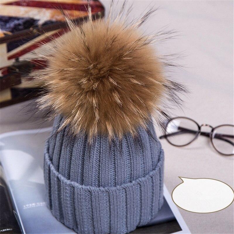 pompn de piel de mapache pelo de la manera de lana de punto sombreros de invierno