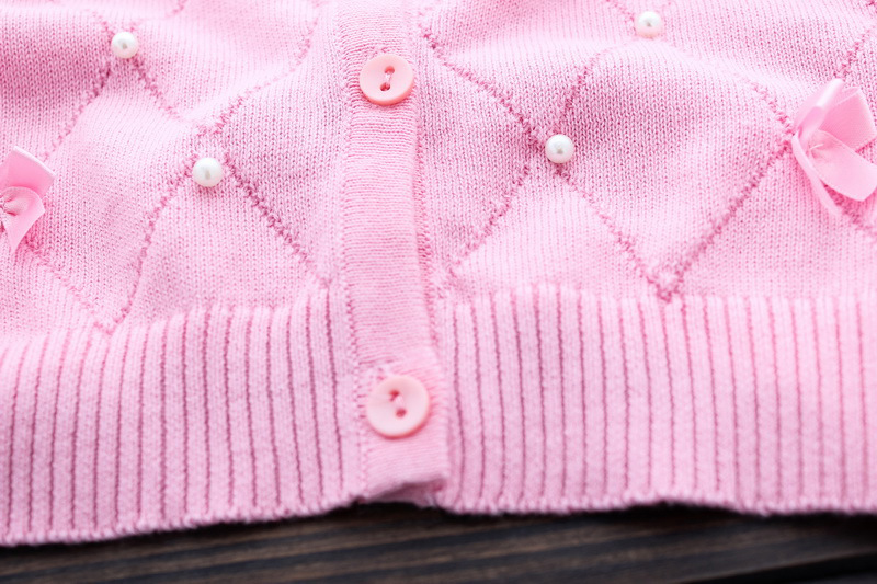 Lolita Girls Sweaters Solid Long Sleeve Clothes Pearl Children Sweaters Coats O Neck Sweater Cardigan Kids Clothes With Bows (8)