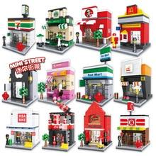 City Mini Street Building Blocks 3D Model Retail Store DIY Apple McDonald Cafe Shop Bricks Kids Blocks Toys [yamala] series mini street model store shop with apple store mcdonald s building block toys compatible with legoingly hsanhe