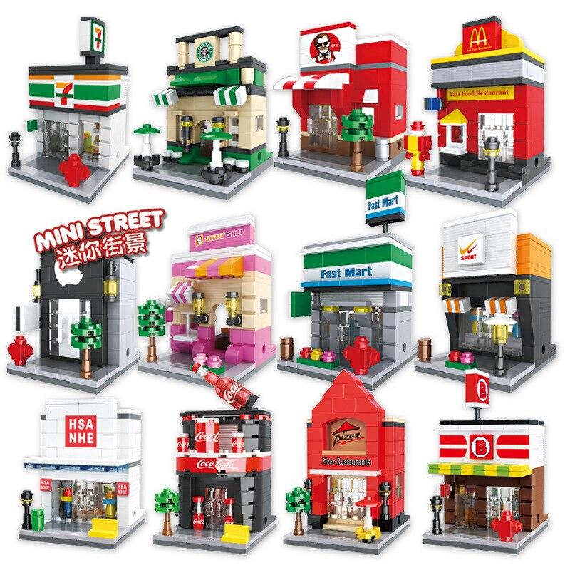 LegoINGlys City Mini Street Scene Building Blocks Sets DIY 3D Retail Store Block Children Assemble Pizza Coffee Shop Bricks Toys
