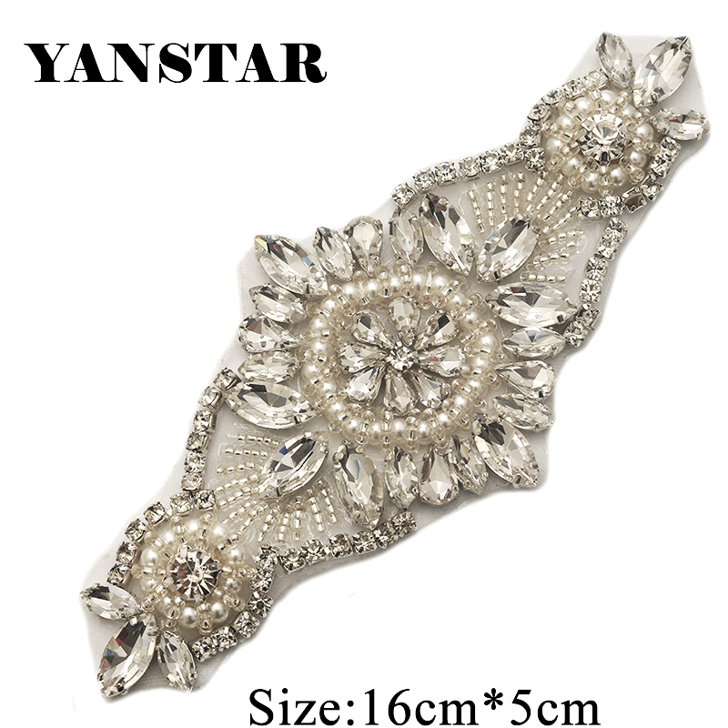 YANSTAR 5PCS Wholesale Rose Gold Rhinestones Appliques Patch Iron On  Wedding Dresses Belt Rhinestones Appliques Accessory e997c74f5665