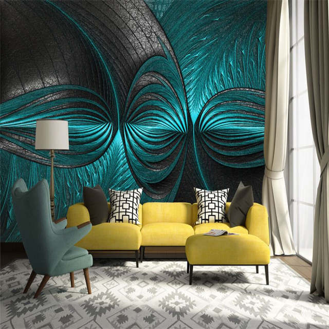 Creative turquoise living room bedroom background wall professional  production mural wholesale wallpaper custom photo wall