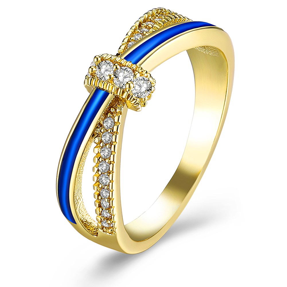 Fashion Yellow Gold Color Bridal Rings Clear Cubic Zircon Oil Drip