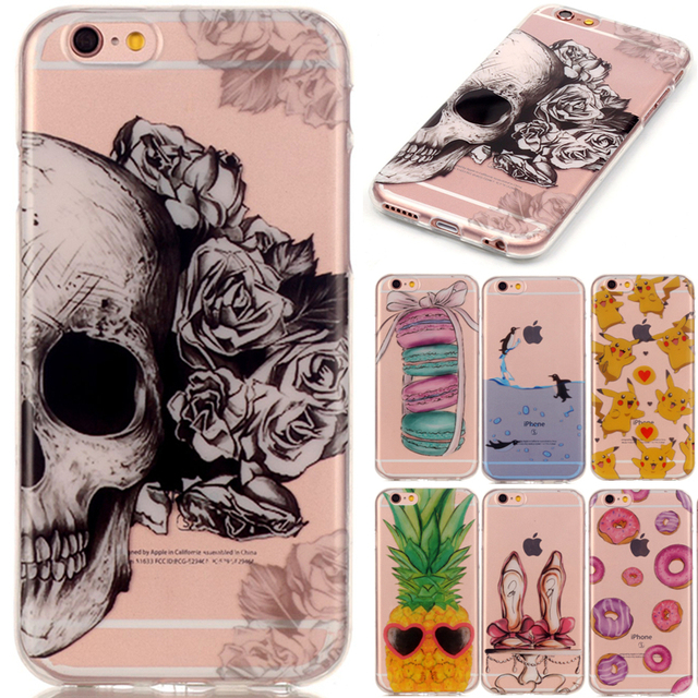 Cute Cartoon Skull Butterfly Owl TPU Soft Fundas Case For Apple Iphone 5 5s 5c SE 6 6s 6plus 6s Plus 7 7 Plus Back Cover Coque