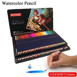 NYONI 36/48/72Colors Watercolor Pencils Set Drawing Pencils Crayons Lapices De Colores Colored Pencils Art Sketch Colour Pencil