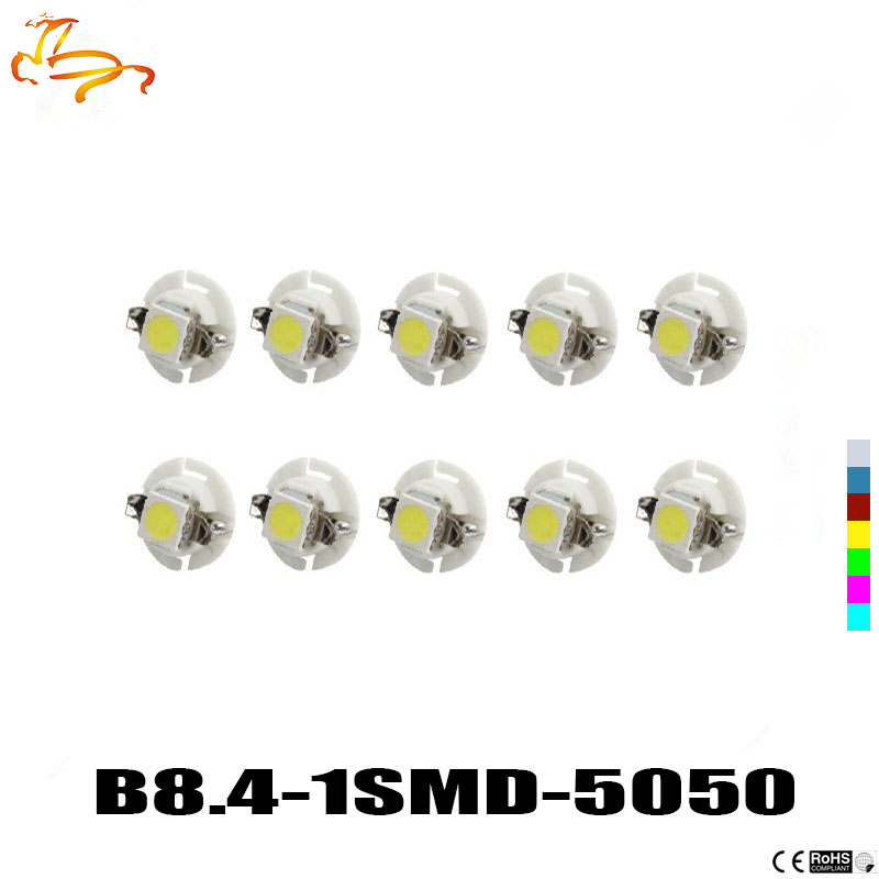 10Pcs Auto LED B8.4 B8.4D 5050 1 SMD 12V Car Dashboard Instrument Cluster lamp Map panel Light Gauges light bulb. uxcell 10 pcs ice blue 3020 smd led vehicles car dashboard dash light lamp internal