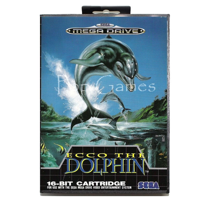 Ecco the Dolphin with Box for 16 bit Sega MD Game Card for Mega Drive for Genesis Video Console