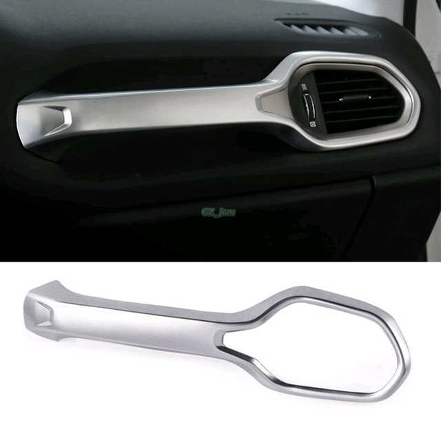 LHD CHROME CENTER CONSOLE AIR VENT COVER DASHBOARD DASH TRIM INNER BEZEL FRAME STYLING MOLDING FIT FOR 2015 2016 JEEP RENEGADE