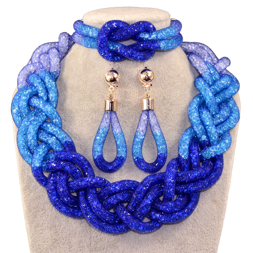New design mesh multicolor crystal and alloy resin necklace with bracelet earrings sets top fashion jewelry sets viennois new blue crystal fashion rhinestone pendant earrings ring bracelet and long necklace sets for women jewelry sets