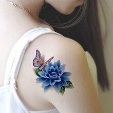 3D Colorful Waterproof Body Art Sleeve DIY Stickers Glitter Temporary Tattoos Fake Flower Rose For Tattoos Sex Product Tatuagem