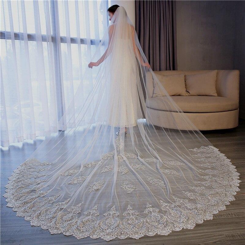 3.5 M voile de mariage cathédrale une couche bord de dentelle longue voiles de mariée avec peigne femme se marier cadeaux 2019 accessoires de mariage
