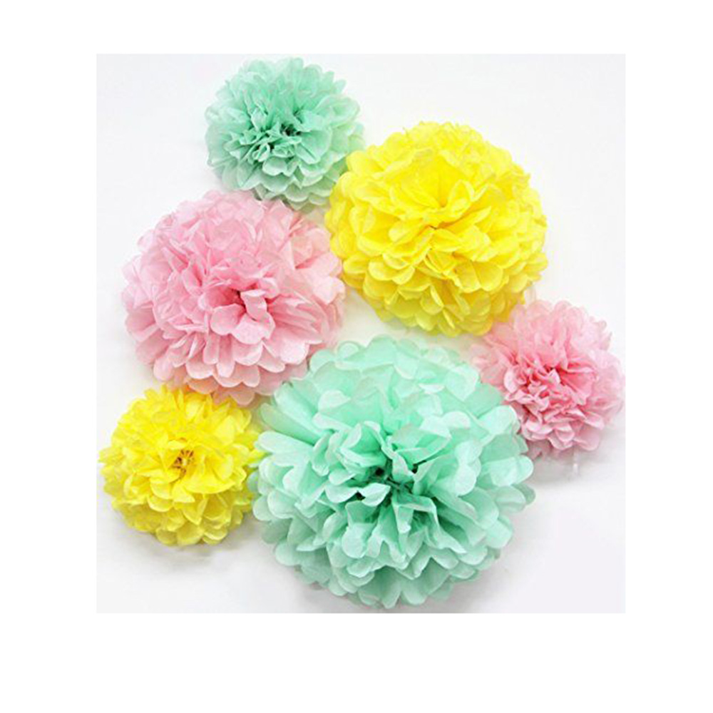 6pcs mintpinkyellow 6810 tissue paper pom pom flowers set 6pcs mintpinkyellow 6810 tissue paper pom pom flowers set honeycomb flower ball wedding birthday shower home decor in party diy decorations from home mightylinksfo