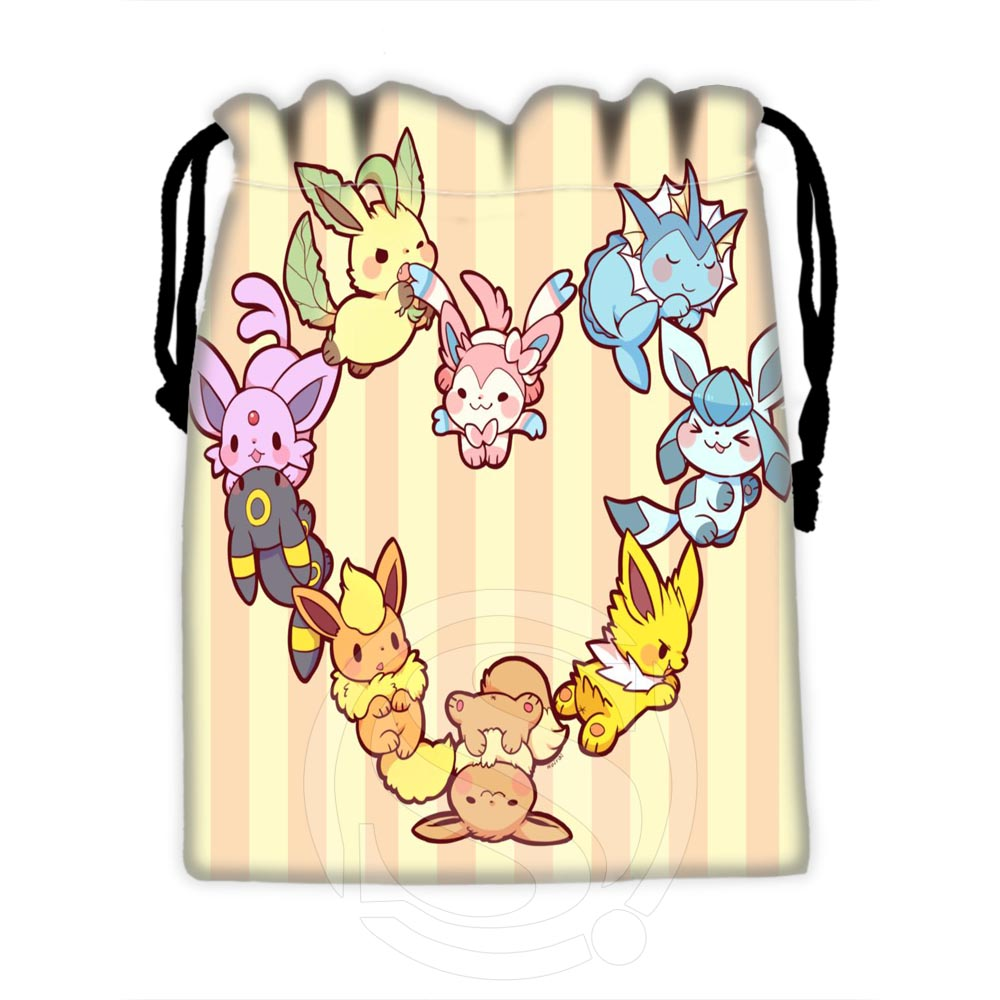 Custom Eevee #4 Fashion Design Drawstring Bags For Mobile Phone Tablet PC Packaging Gift Bags18X22cm SQ00729-@H0566