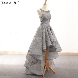 Image 4 - Vestidos de Noche asimétricos de tul, ropa de noche gris, Sexy, bordada con perlas, sin mangas, Formal, de noche, Hill HM66595 Serene, 2020