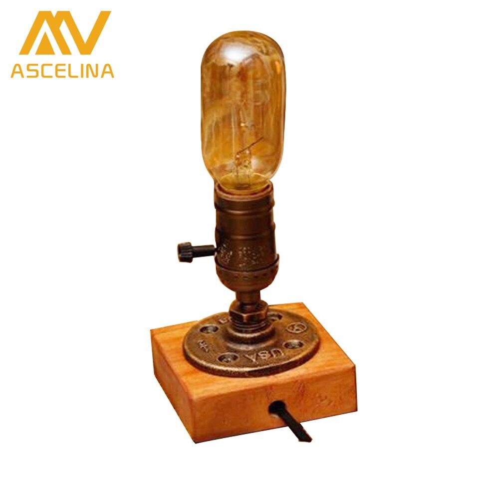 Antique wooden table lamps - Loft Retro Coffee Shop Table Lamp Wood Vintage Desk Lamp Dimmable 40w Edison Bulb 220v Bedroom Bar Table Light Desk Light Wooden