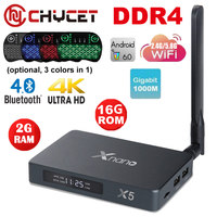 X5 Android 6.0 TV Box RTD1295 DDR4 2G eMMC 16G SATA3.0 USB3.0 BT4.0 Ottico 5.8G WiFi Registrazione Box 4 k Media player Smart tv box