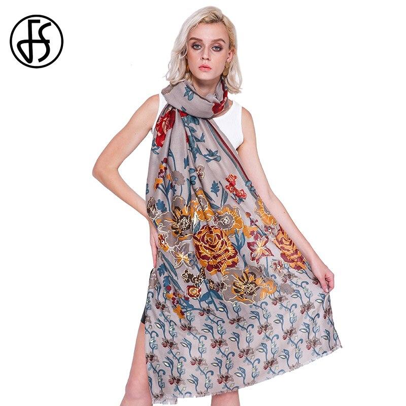e700d5f2da65 FS Foulard Femme Longue Coton Lin Châle Hijab Écharpe Imprimé Floral Pour  L hiver Femmes